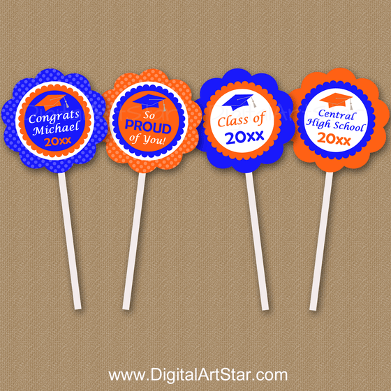 Royal Blue and Orange Personalized Graduation Cupcake Toppers