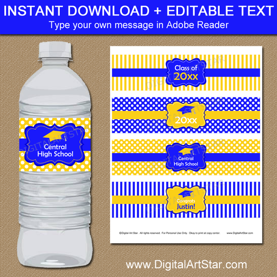 Royal Blue and Yellow Graduation Water Bottle Labels Editable