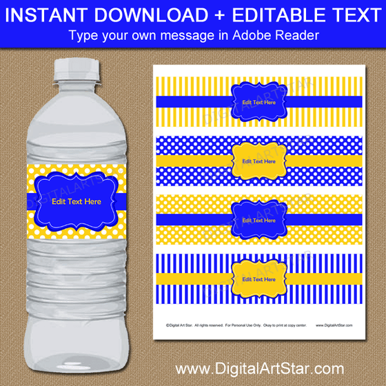 Instant Download Royal Blue and Yellow Water Bottle Stickers