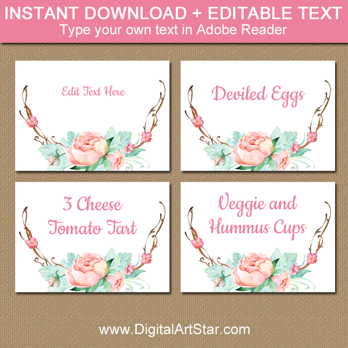 Rustic Floral Food Labels Template Printable
