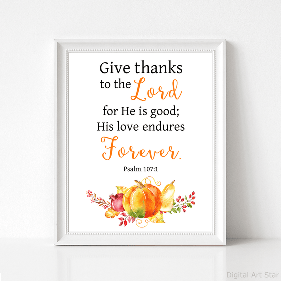 Scripture Wall Art Print with Pumpkin - Psalm 107