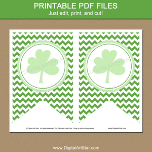 Green Shamrock Printable Banner Template for St Patrick's Day