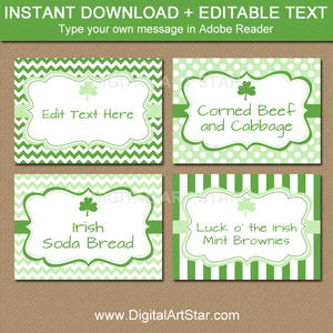 Shamrock St Patrick's Day Food Labels Printable