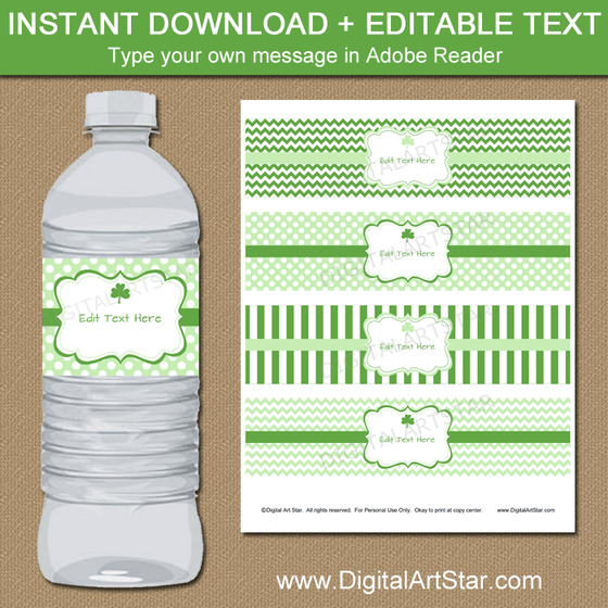 Green and White St Patricks Day Water Bottle Labels Editable Template