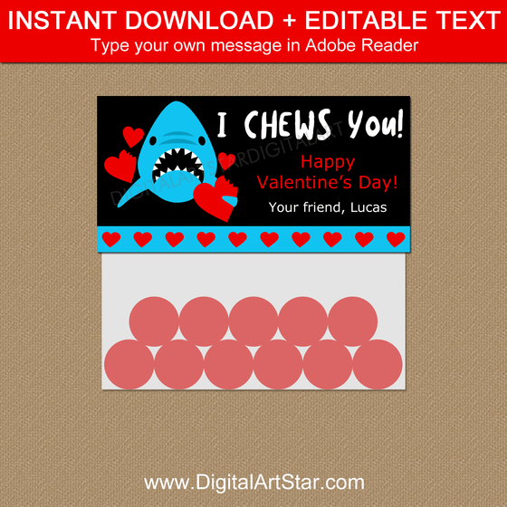 Shark Valentine Favor Bag Toppers Template Editable