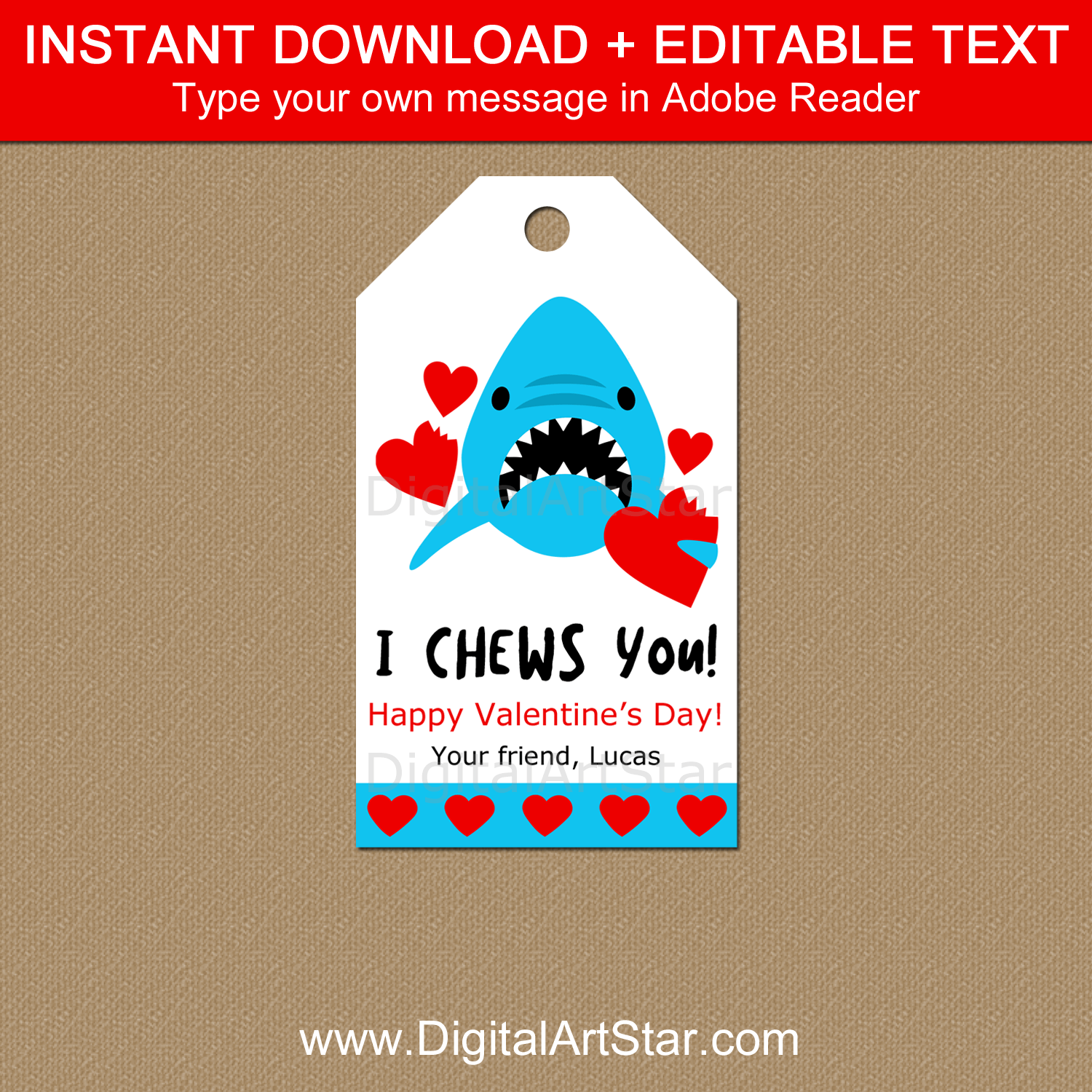 Editable Shark Valentine's Day Gift Tag Template