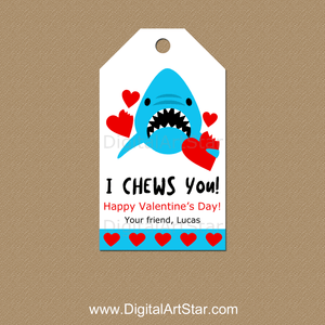 Shark Valentine's Day Personalized Gift Tags
