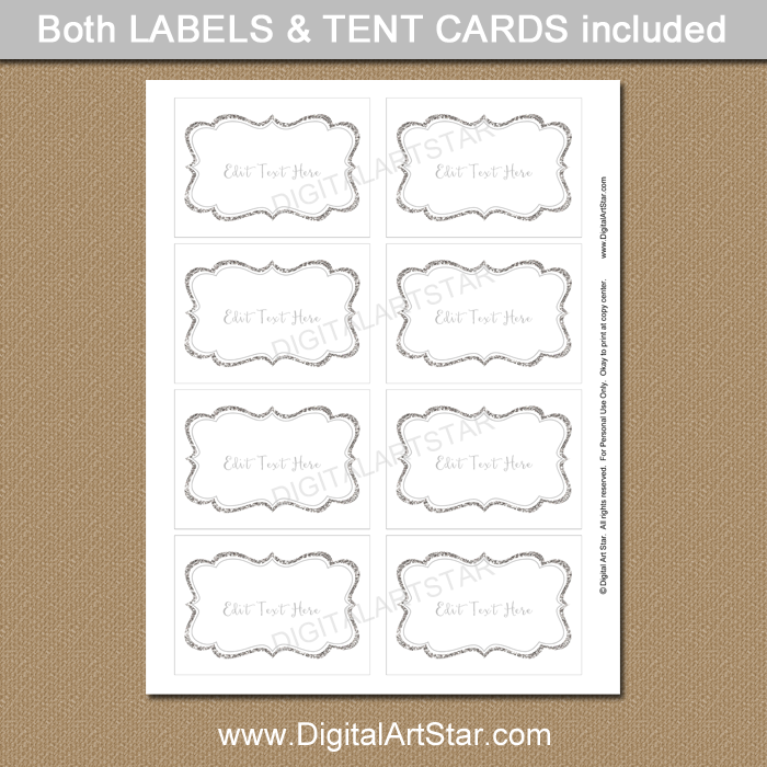 Silver Baby Shower Candy Buffet Label Template