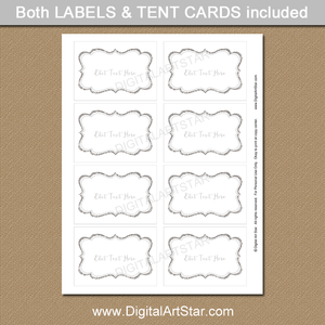 Silver Glitter Wedding Labels with Editable Text