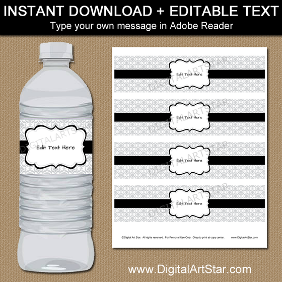 Printable Silver Water Bottle Labels with Black Accents