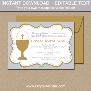 Instant Download Silver First Communion Invitations