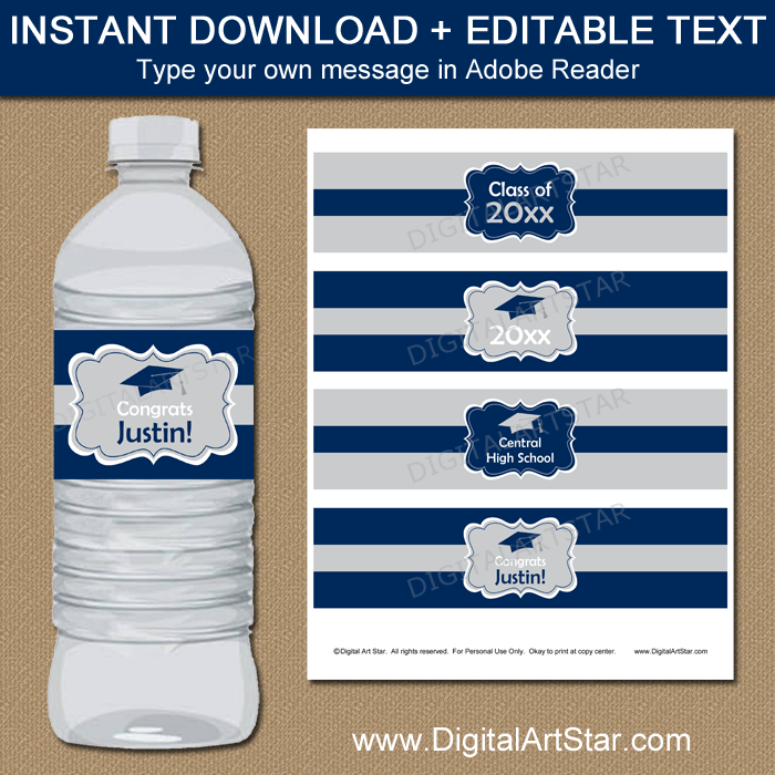 Silver and Navy Blue Graduation Water Bottle Label Download
