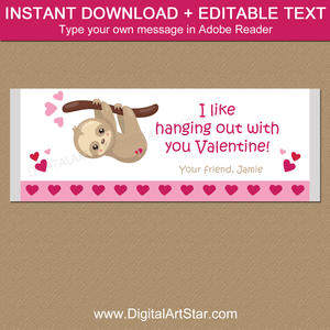 Sloth Valentine Candy Bar Wrapper Template Editable