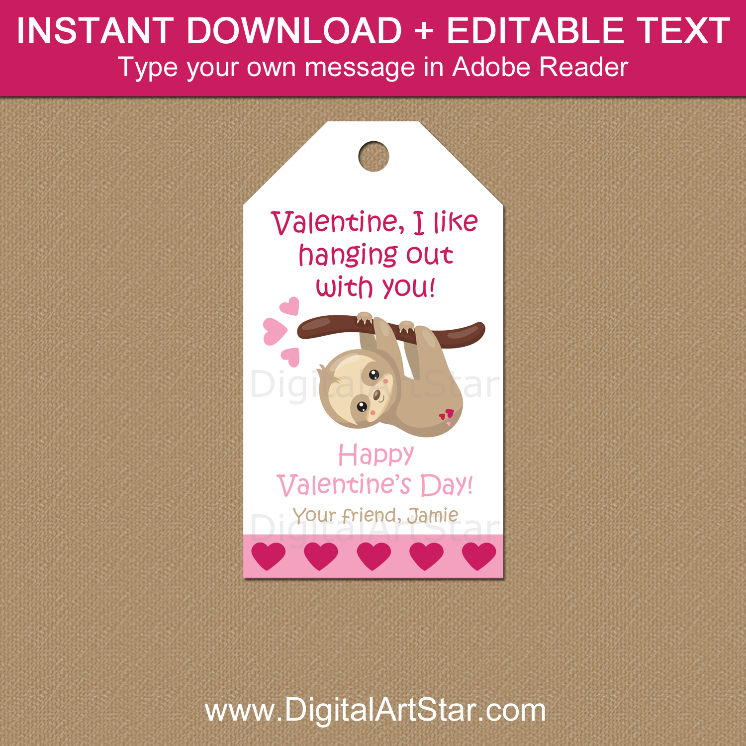 Sloth Valentine Tags Printable Template
