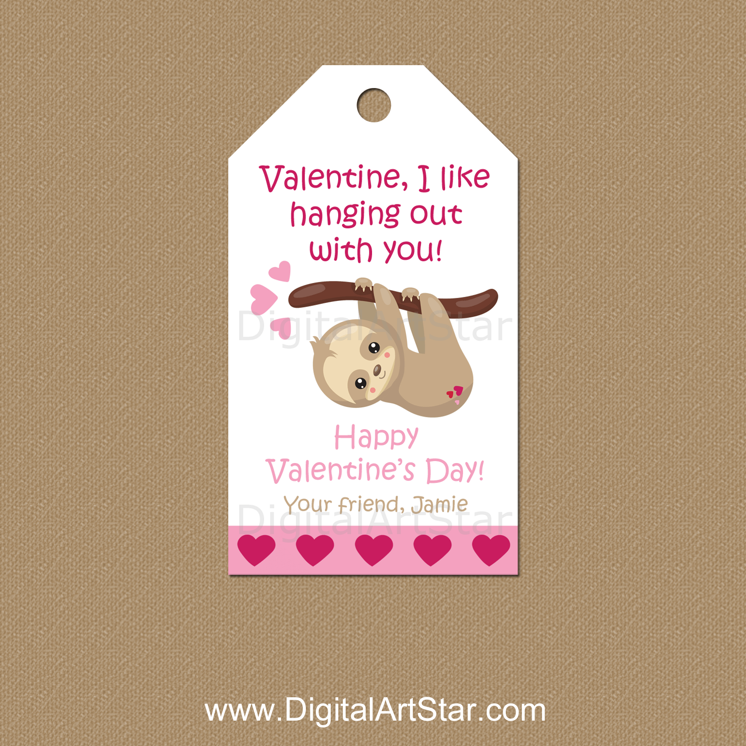 Sloth Valentines Day Gift Tags Personalized