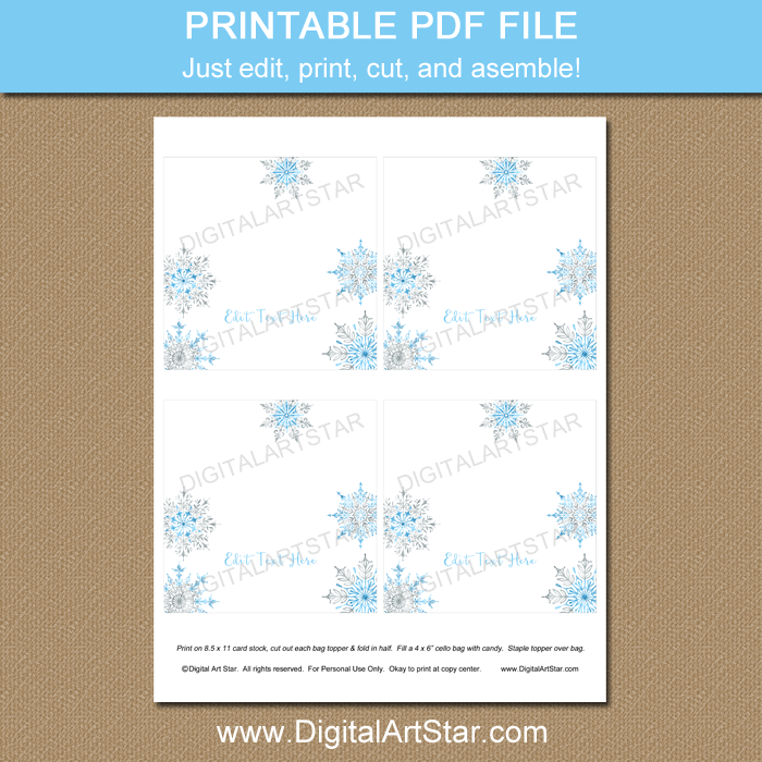 Snowflake Bag Toppers for Winter Party Favors