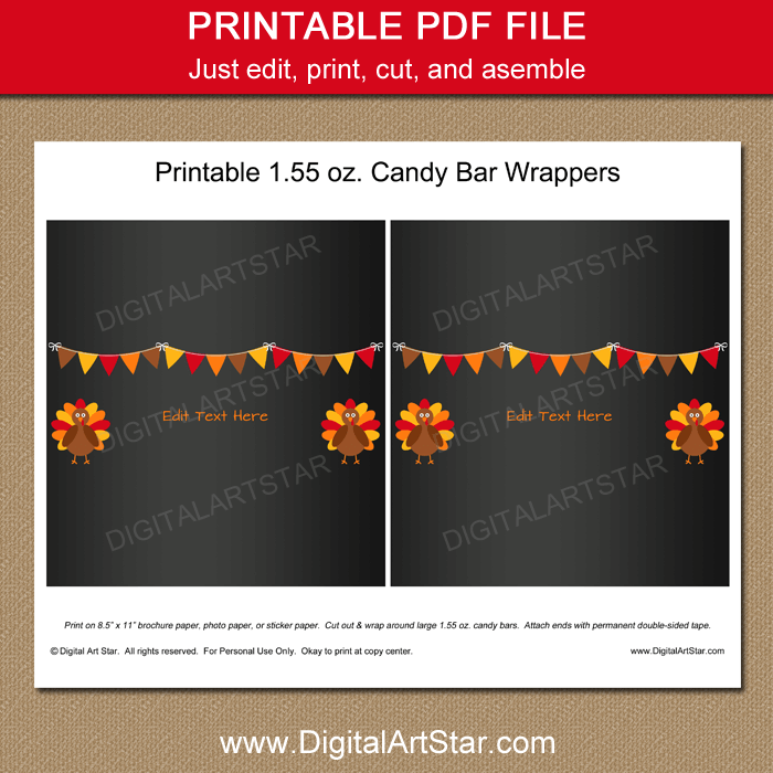 Chalkboard Thanksgiving Printable Chocolate Bar Wrappers