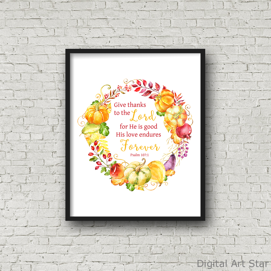 Thanksgiving Scripture Wall Art Printable