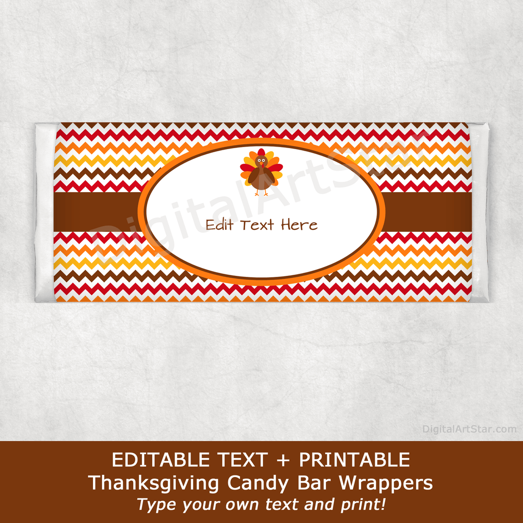 Editable Printable Thanksgiving Candy Bar Wrappers