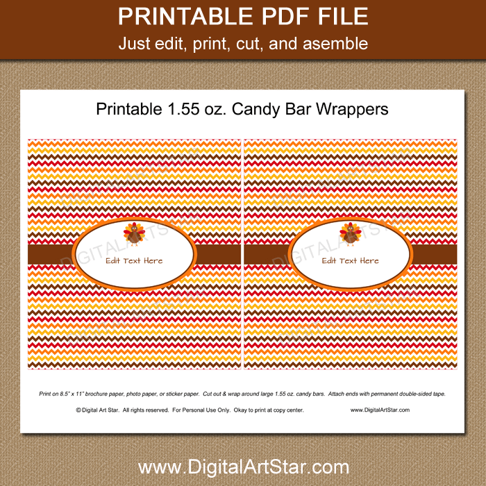 Printable Thanksgiving Chocolate Bar Wrappers Template