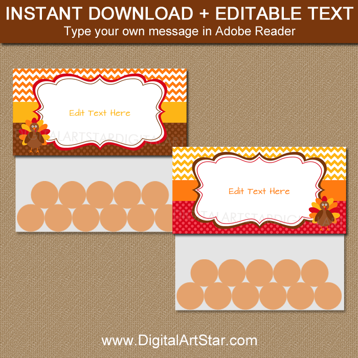 Instant Download Thanksgiving Treat Bag Toppers