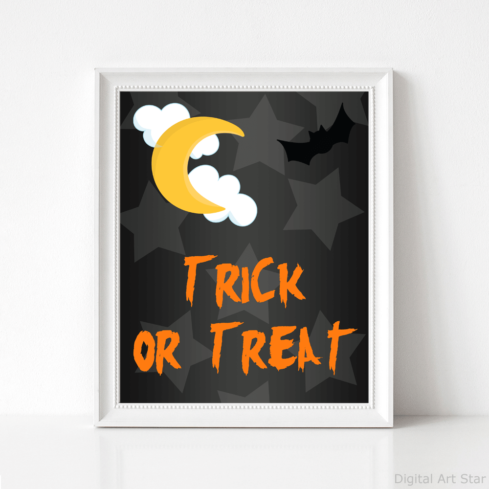Trick or Treat Wall Hanging with Halloween Moon and Bat