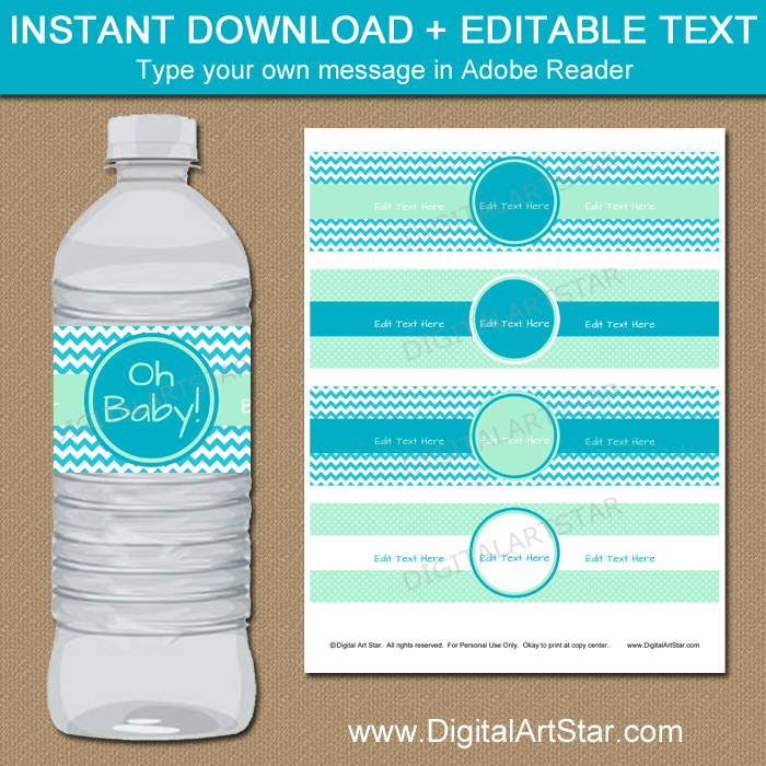 Turquoise Baby Shower Decorations - Printable Water Bottle Labels