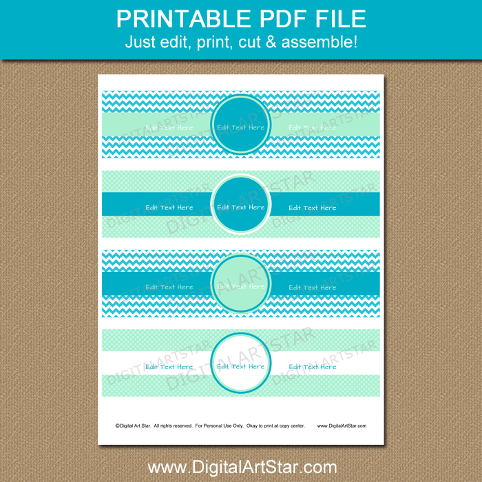 Turquoise and Mint Water Bottle Labels Printable