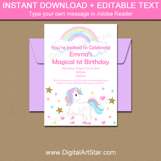Unicorn 1st Birthday Invitation Editable Template