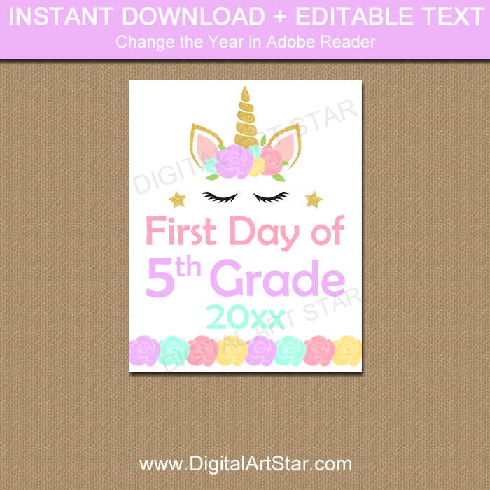 image regarding First Day of 5th Grade Printable titled Unicorn 5th Quality Initially Working day of College Indication Printable 2019