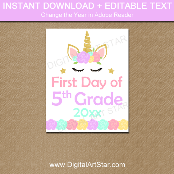 Instant Download First Day of Fifth Grade Sign Template