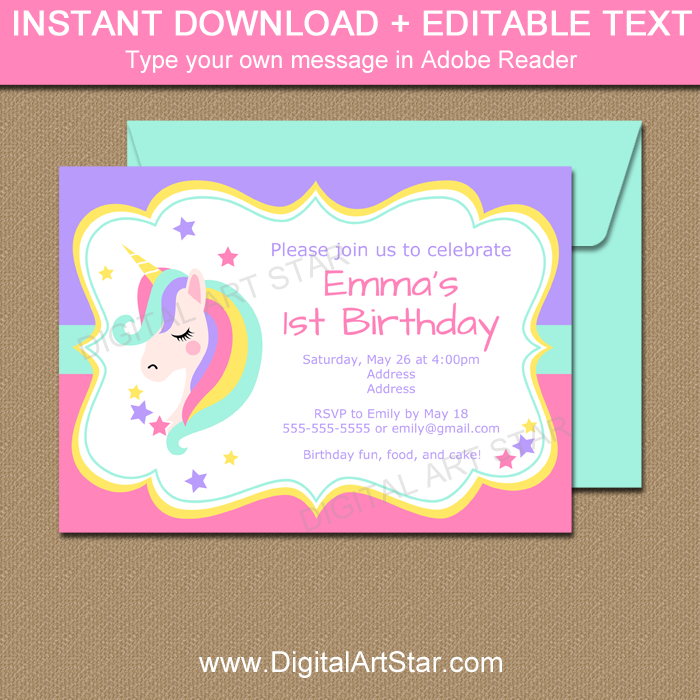 Unicorn Birthday Invitation - Unicorn Baby Shower Invitation