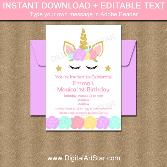Instant Download Unicorn Birthday Party Invitation Editable Template