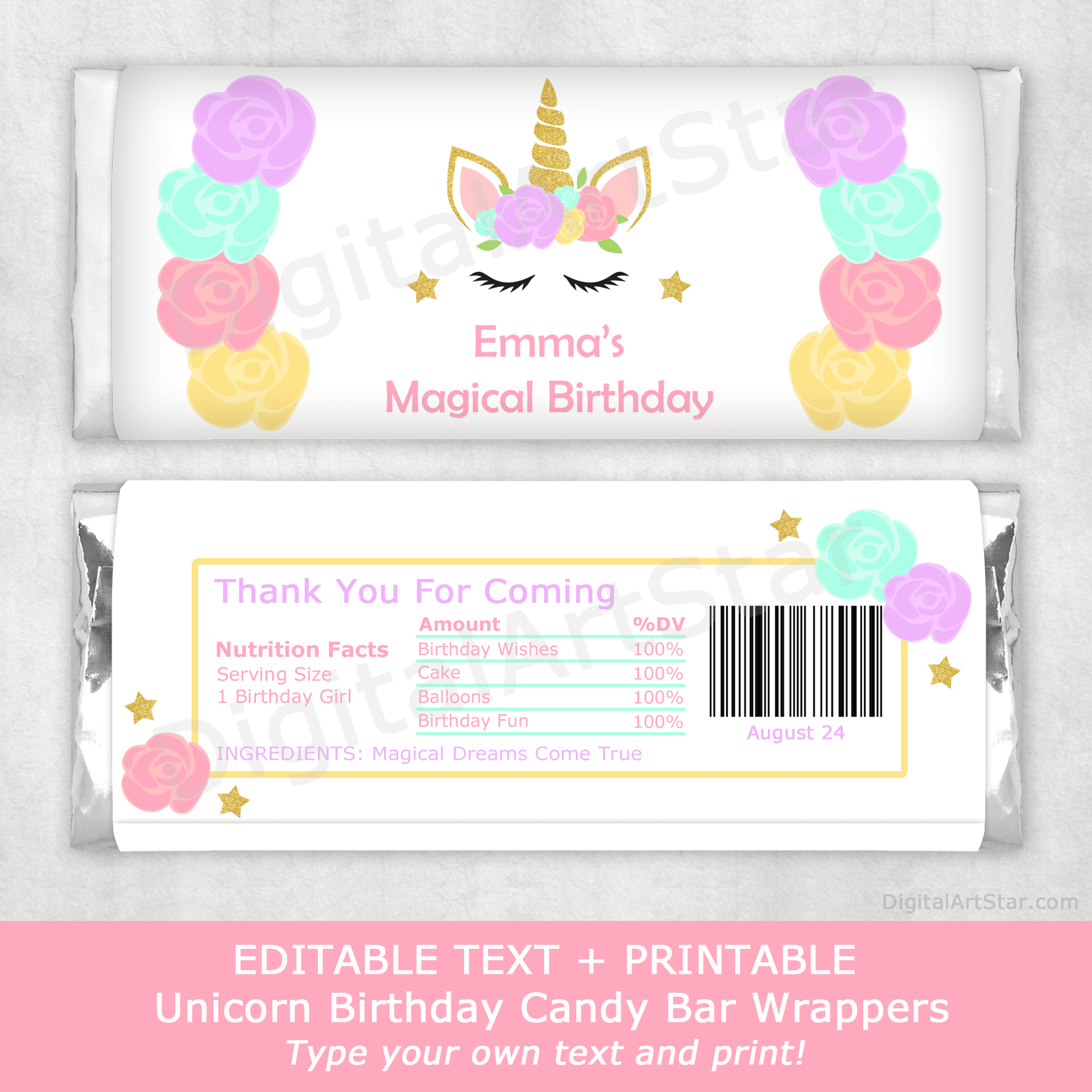 Unicorn Birthday Party Supplies - Printable Candy Bar Wrappers