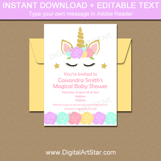 Editable Unicorn Face Baby Shower Invitations Download