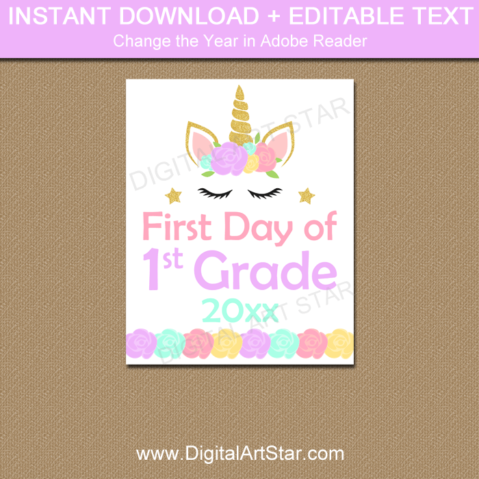 Unicorn First Day of First Grade Sign Printable 2019