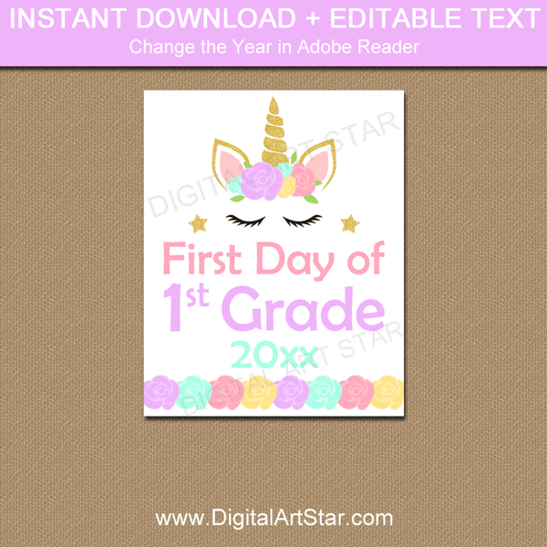 photograph relating to First Day of 1st Grade Printable Sign titled Unicorn To start with Working day of 1st Quality Indication Printable 2019