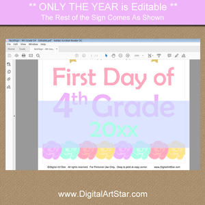 Editable Back to School 4th Grade Sign Template