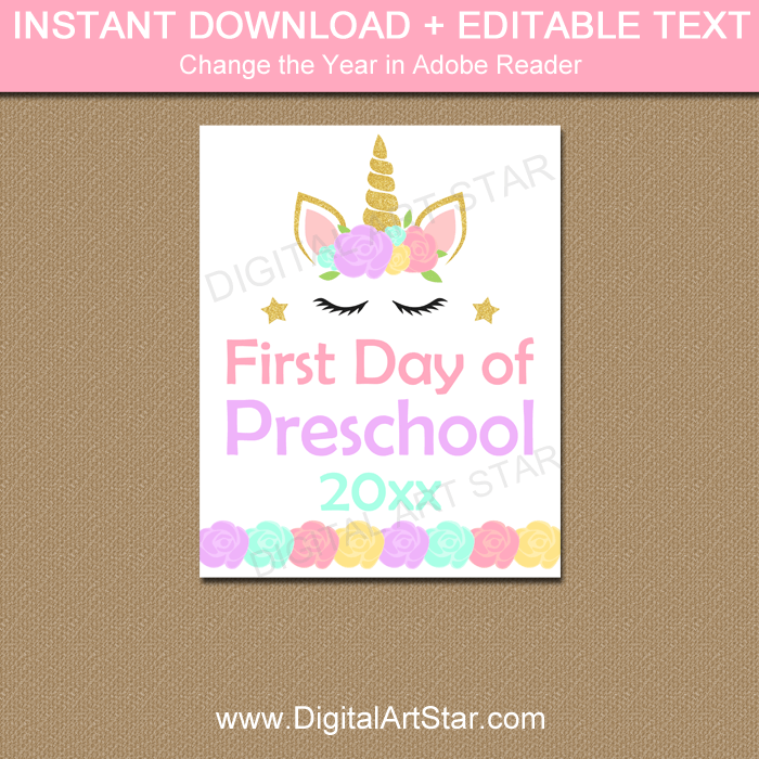 image regarding Printable First Day of Kindergarten Sign titled Unicorn Initially Working day of Preschool Indicator Printable