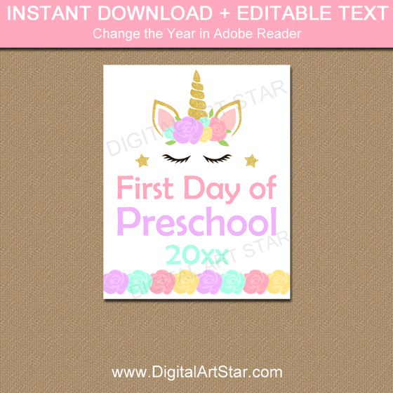 Unicorn First Day of Preschool Sign Editable Download