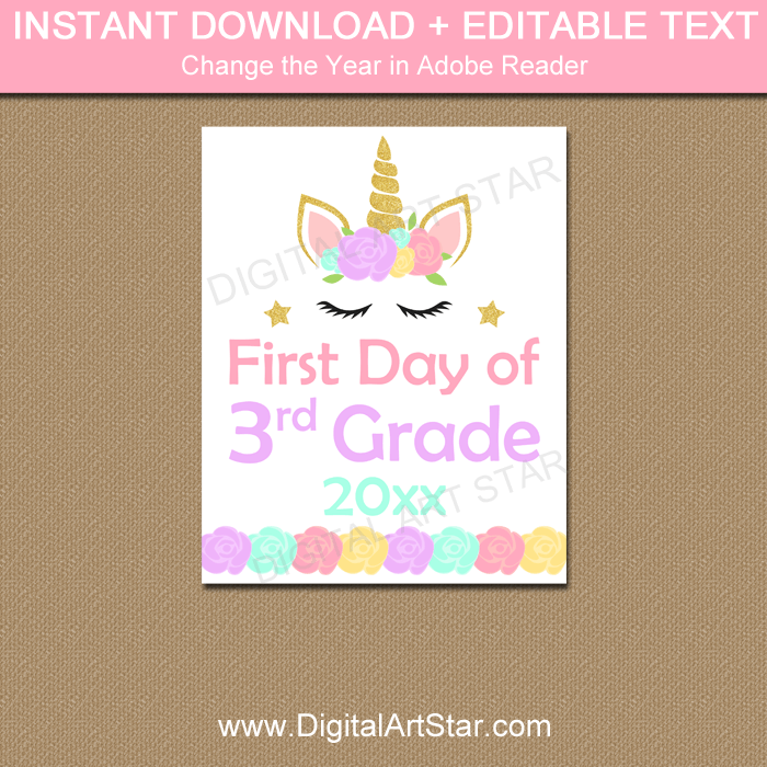 graphic about First Day of 3rd Grade Sign Printable called Unicorn Initially Working day of 3rd Indication Printable