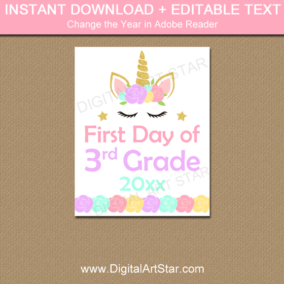Instant Download Unicorn Back to School Sign Editable Template