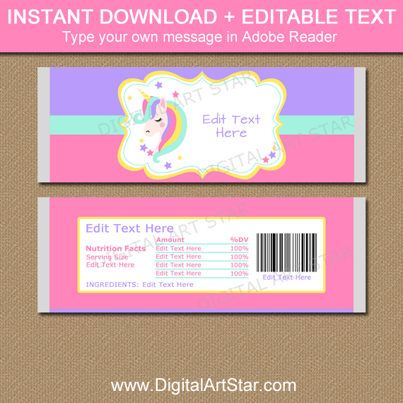Unicorn Party Favors - Printable Candy Wrappers | Digital ...