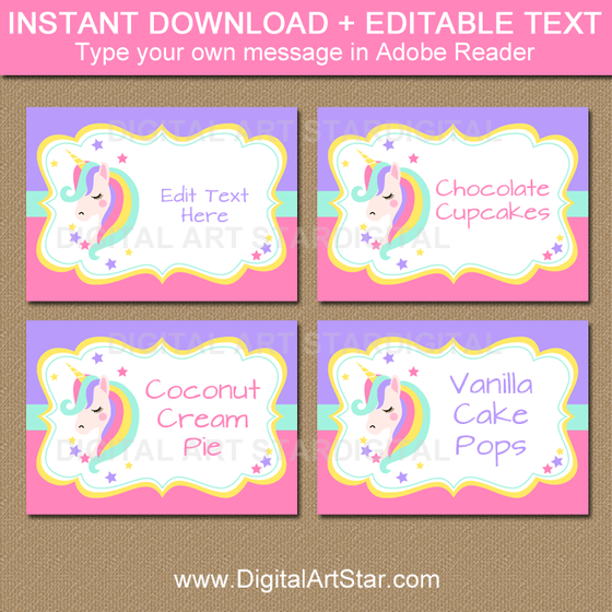 Instant Download Unicorn Candy Buffet Labels