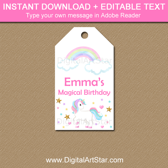 Editable Unicorn Rainbow Birthday Favor Tags Template