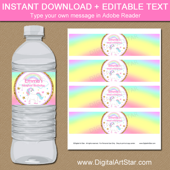 Unicorn Rainbow Birthday Water Bottle Labels