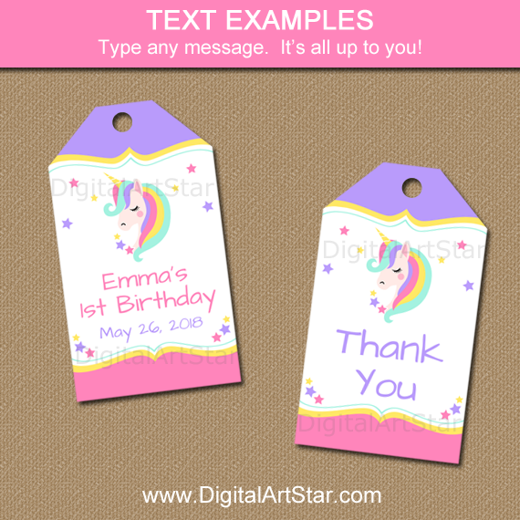 Editable Tags for Unicorn Party