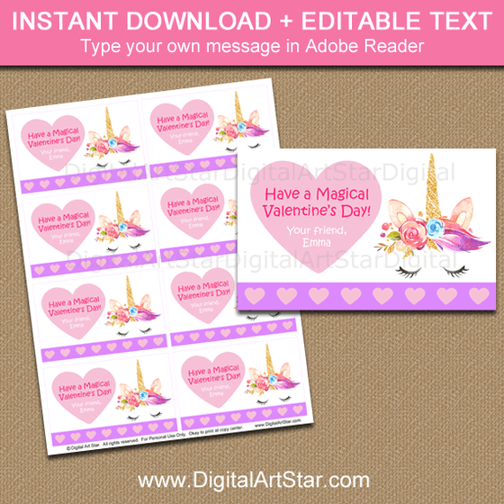 Magical Valentine's Day Unicorn Cards