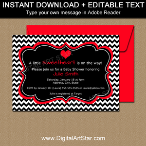 Valentine Baby Shower Invitations