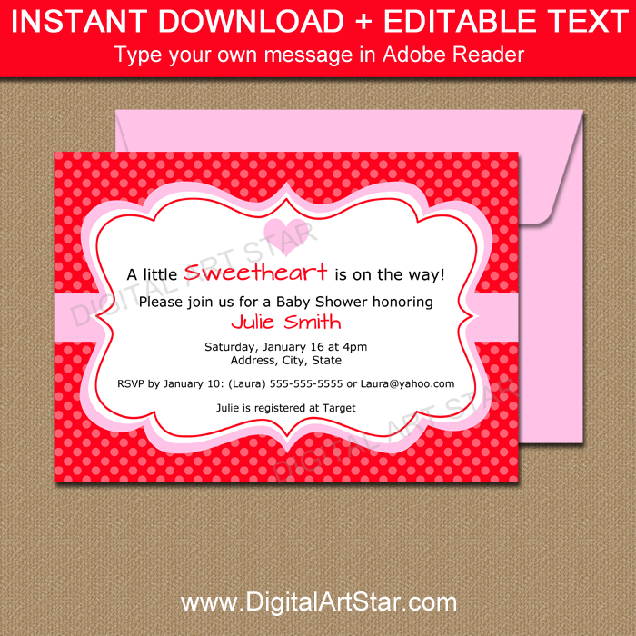 Valentine Baby Shower Invite